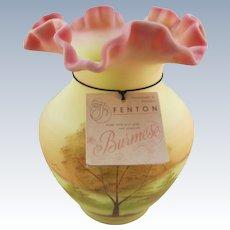 VINTAGE Large Burmese 85th Anniversary Vase Hand painted by Fredrick Fenton 1990