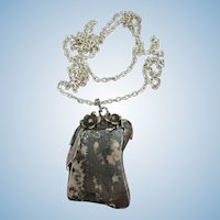 VINTAGE Sterling Chain and Special Gem Stone Pendant