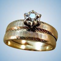 VINTAGE 10k  Yellow Gold Wedding Set  with a nice Diamond