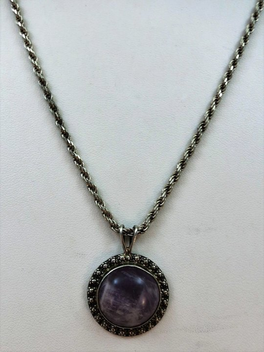Vintage raw amethyst pendant with super sterling chain mexican vintage raw amethyst pendant with super sterling chain mexican silver designer fs aloadofball Choice Image