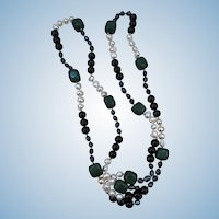 VINTAGE Long Gem Stone Necklace Stunning 46 Inches long Aventurine, Onyx, pearl,