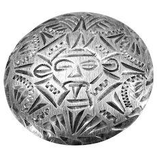 VINTAGE  Sterling Mayan Sun God Brooch