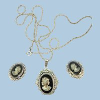 VINTAGE Famous Whiting and Davis Earring and Pendant Set 50's