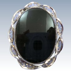 VINTAGE Sorrento Sterling Onyx Oval Brooch