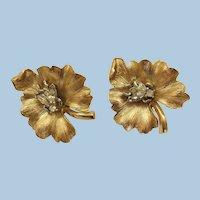 VINTAGE Alfred Philippe Taifari's Clip Earrings Fly On Flower