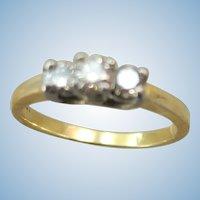 VINTAGE 14k  Yellow Gold Three Diamond Ring  Size 5 3/4