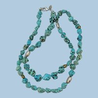 VINTAGE  34 Inch Stylish Rope of Turquoise Nuggets with Metal Beads of Interest