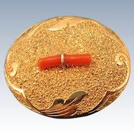 VICTORIAN Era Gold Filled Oval Brooch With Branch Coral
