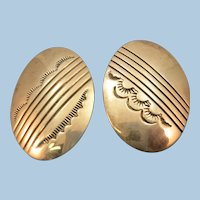 VINTAGE  Mismatched Oval Clip Earrings  Interesting  Thunder Clouds and Sun Shining!!