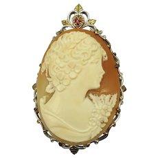 VINTAGE Sterling Framed Hand-Carved Shell Cameo Enhancer for Pearls or etc