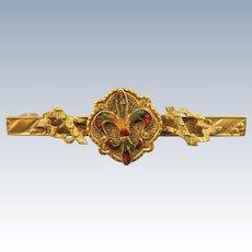 VINTAGE Victorian Gold-Filled with Enameling Bar Brooch
