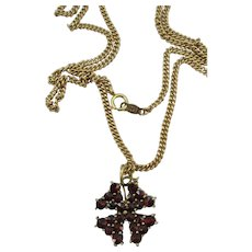 VINTAGE  A Four Leaf Clover Bohemian Garnets with 14K  18 Inch Chain