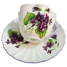 VINTAGE Shelley Fine Bone China Violets Cup and Saucer  Made in England