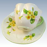 VINTAGE Shelley Fine Bone China Made in England Cup and Saucer  Primrose