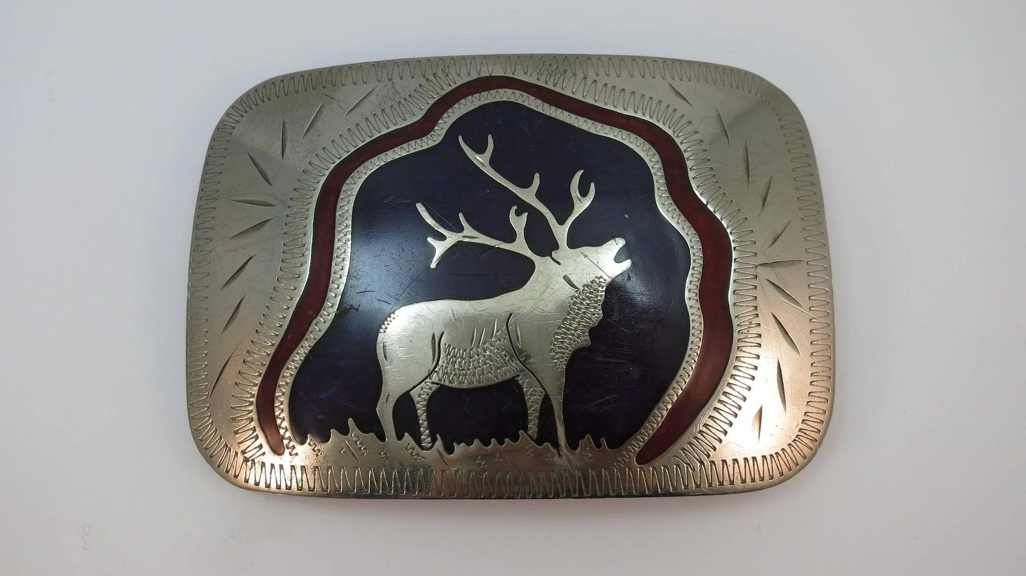 Vintage Heavy Sterling Johnson And Held Belt Buckle Made