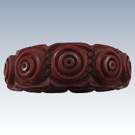 VINTAGE 40'S Deeply Carved Brown Bakelite Bracelet