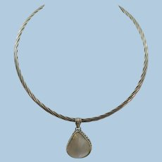 VINTAGE Sterling Heavy Collar with Mother of Pearl Pendant