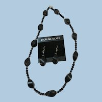 VINTAGE Black Glass Necklace with Matching Earrings