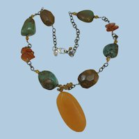 VINTAGE Gem Stone Necklace with Citrine Pendant  Charming