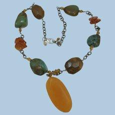 VINTAGE Gem Stone Necklace with Citrine Pendant  Charming