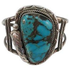 VINTAGE Massive Turquoise Bracelet Great Setting