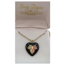 VINTAGE Black Hill Gold Leaf on Onyx Heart  Gold Filled Chain