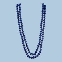 VINTAGE  Endless String Knotted  Bright Blue Dyed Large Freshwater Pearls  46 Inches  Stunning!