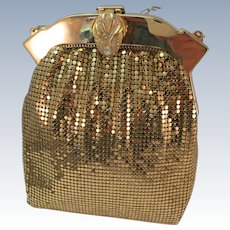 VINTAGE  1950's Whiting and Davis Gold Mesh Purse  Mint