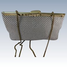 VINTAGE Whiting and Davis Summer White Mesh Purse with Square Opening 1950's