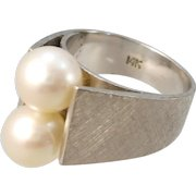VINTAGE 14k White Gold 2 Pearl Ring Size 5 3/4   For Pretty Hands