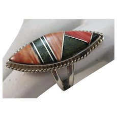 VINTAGE Zuni Channel Ring Unusual Stones Size 8 3/4
