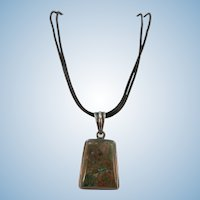 Vintage Turquoise Pendant on Leather Thongs and Toggle.  Necklace