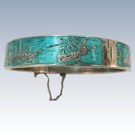 VINTAGE  Thailand Niello  Enameled Bangle Sterling Bracelet