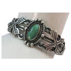 VINTAGE Fred Harvey Sterling Bracelet with Green Turquoise