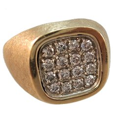 VINTAGE 14k  Man's Brushed Yellow Gold  with 16 Diamond Ring Size 9