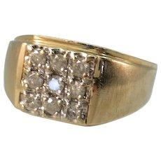 VINTAGE Men's 10K Yellow Gold  9 Diamonds  Size 10 1/2