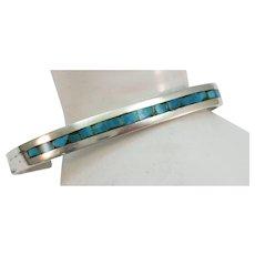 VINTAGE Older Silver and Turquoise Chip Bracelet Signed Flower