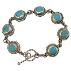 VINTAGE Sterling Turquoise Round Sets Bracelet Longer  7 3/4 Inches