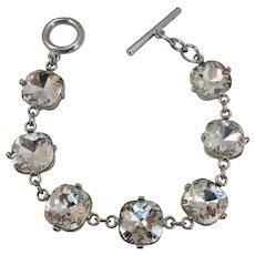 VINTAGE Large Rhinestone Bracelet with Toggle 7 1/2 Inches