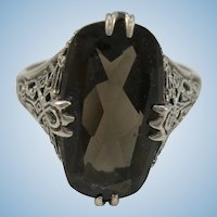 VINTAGE Sterling Old Fashion Smoky Quartz  Size 8 3/4
