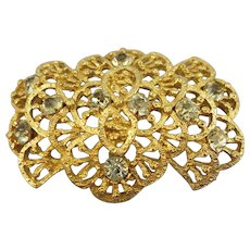VINTAGE Hobe' Gold Tone Brooch with Rhinestones  Classic