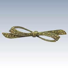 VINTAGE Nice Sterling and Marcasite  Brooch Bow