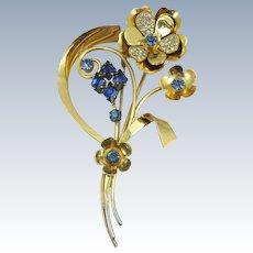 VINTAGE Sterling Gold Wash Large Flower Brooch 4 Inches