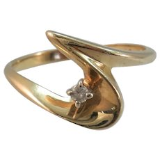 VINTAGE  Yellow Gold Pinkie Ring  Freeform and Diamond Size 6 3/4