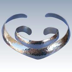 VINTAGE  Hammered Sterling Torc Neckpiece and Bracelet