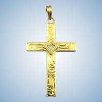VINTAGE 10k Yellow Gold Small Christian Cross with Diamond