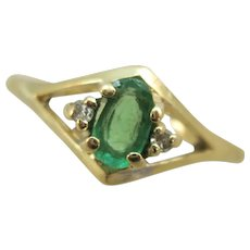 VINTAGE 14k  Natural Emerald Ring Size 6 1/4