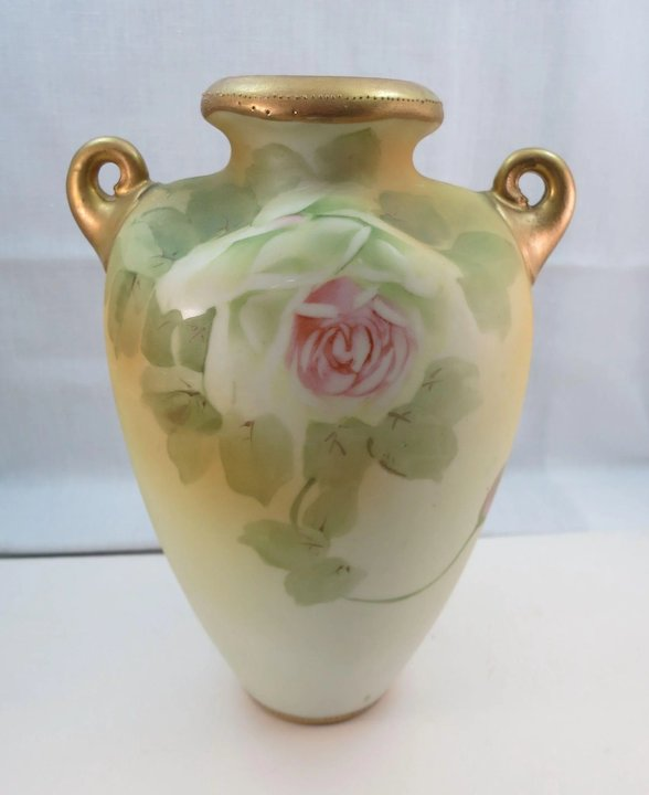Antique Signed Nippon Hand Painted Vases With Handles Roses Ruths