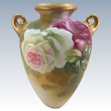 ANTIQUE  Signed Nippon Hand-painted Vases with Handles  Roses