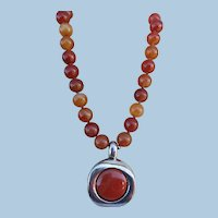 VINTAGE 80's Carnelian 3/4 Inch Knotted  Beads  With Sterling Pendant 18 Inches